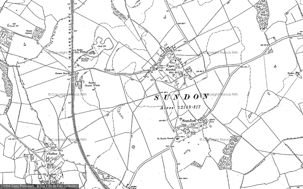 Old Map of Upper Sundon, 1881 in 1881