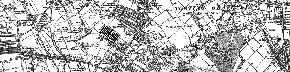 Old map of Tooting in 1894