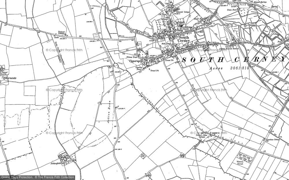 Old Map of Historic Map covering Ashton Down in 1920