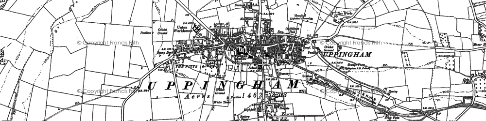 Old map of Uppingham in 1902