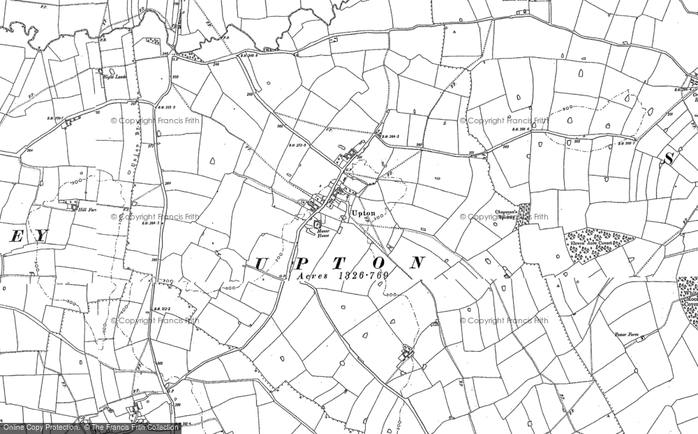 Old Map of Historic Map covering Ashpole Spinney in 1885