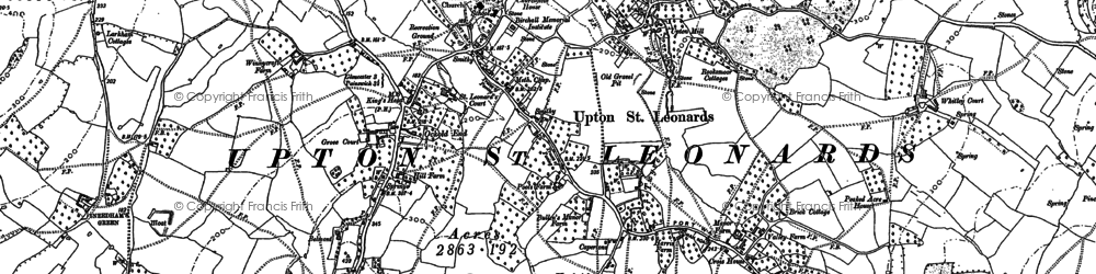 Old map of Whitley Court in 1883