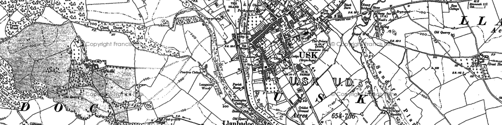 Old map of Usk in 1899