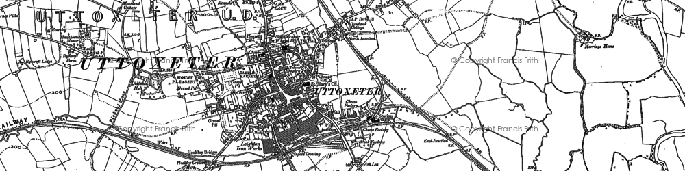 Old map of Uttoxeter in 1899