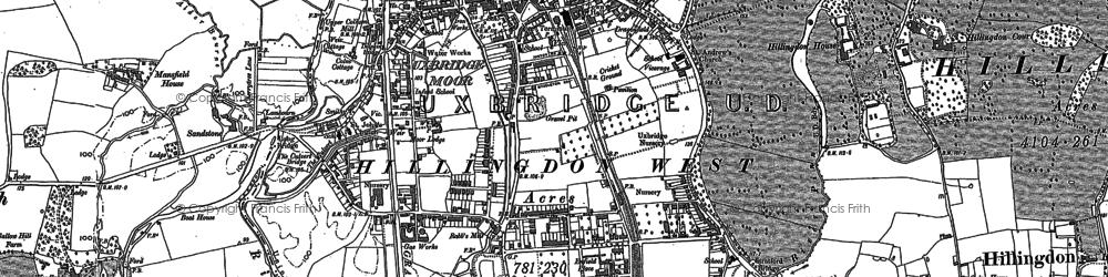 Old map of Uxbridge in 1897