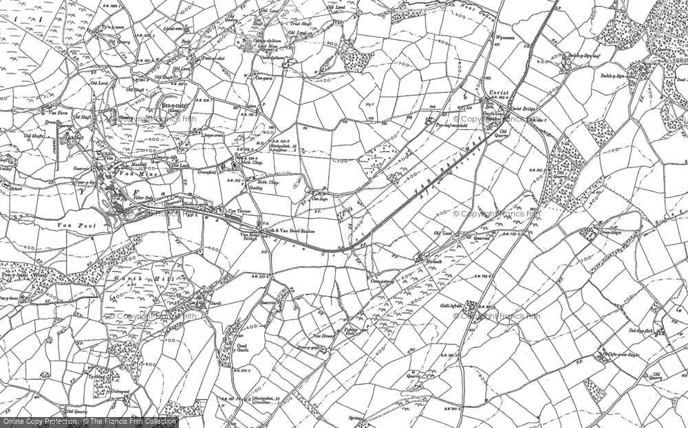 Old Map of Historic Map covering Y Fan in 1885