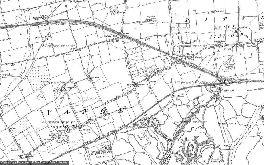 Old Map of Vange, 1895 in 1895