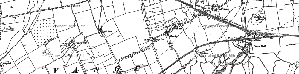Old map of Vange in 1895
