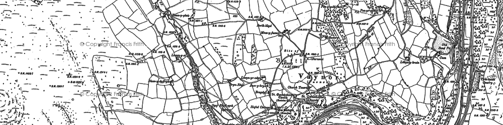 Old map of Vaynor in 1884