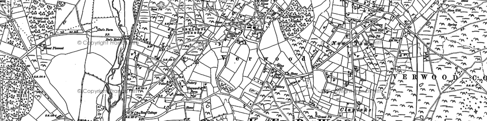 Old map of Verwood in 1908