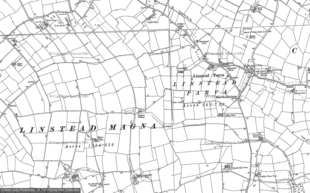 Old Map of Historic Map covering Linstead Parva in 1882
