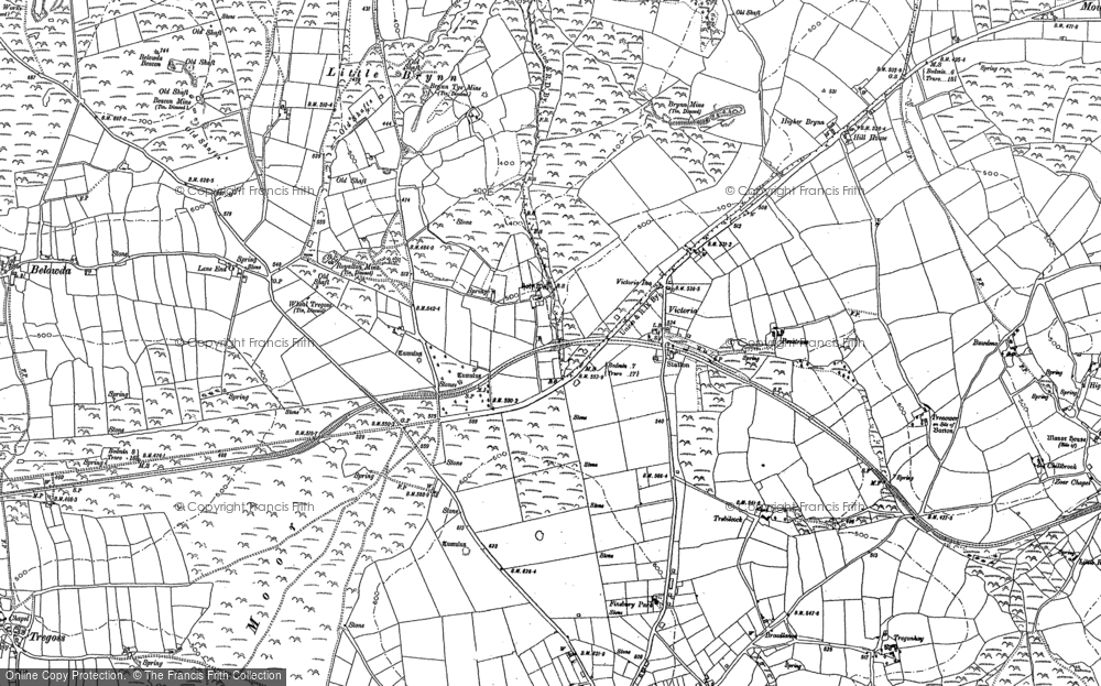 Old Map of Historic Map covering Lane End in 1880