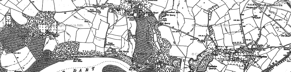 Old map of Waddeton in 1886