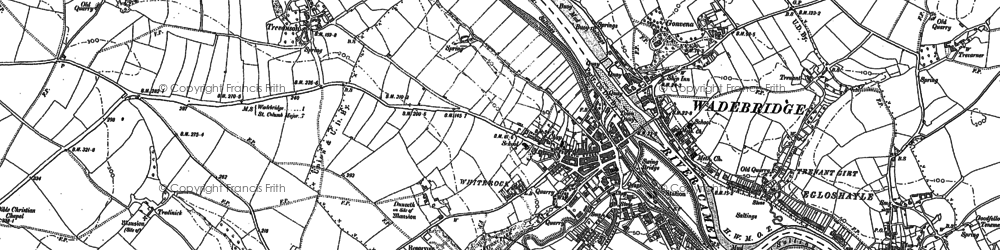 Old map of Wadebridge in 1880
