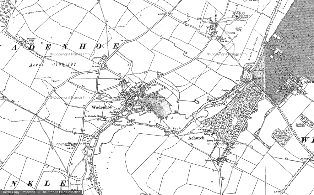 Old Map of Historic Map covering Lilford Wood in 1885