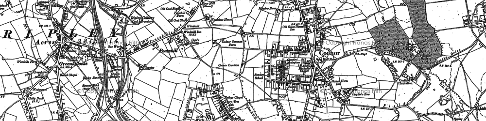 Old map of Peasehill in 1880