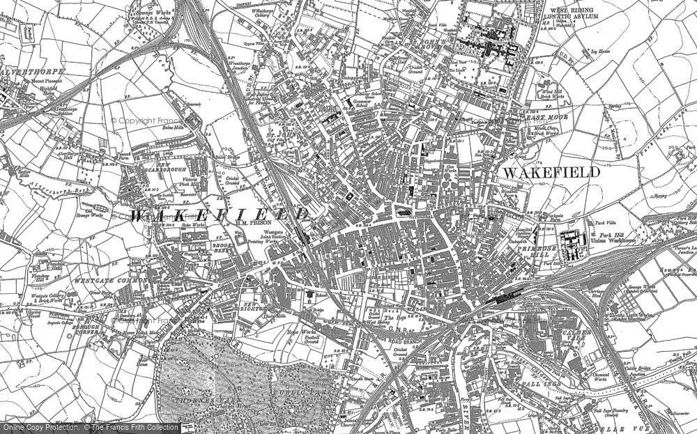 Old Map of Wakefield, 1890 in 1890