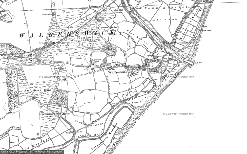 Old Map of Historic Map covering Tinker's Barn in 1903