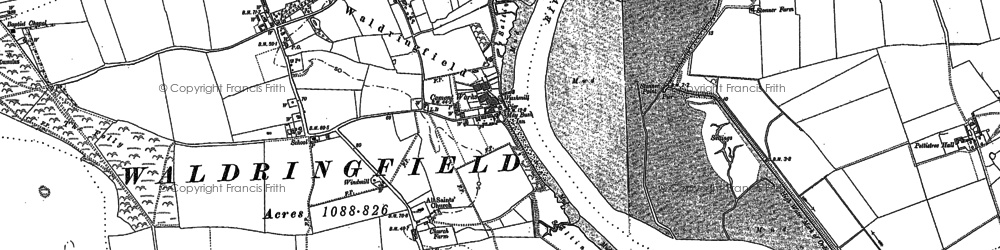Old map of Tips, The in 1881