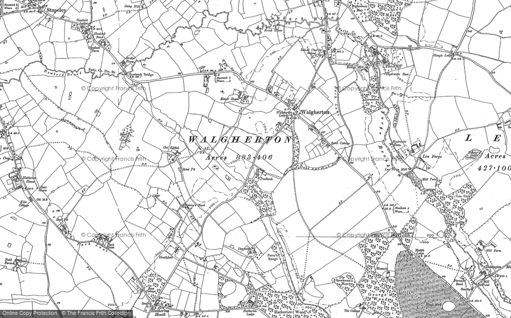 Old Map of Historic Map covering Lea Forge in 1897