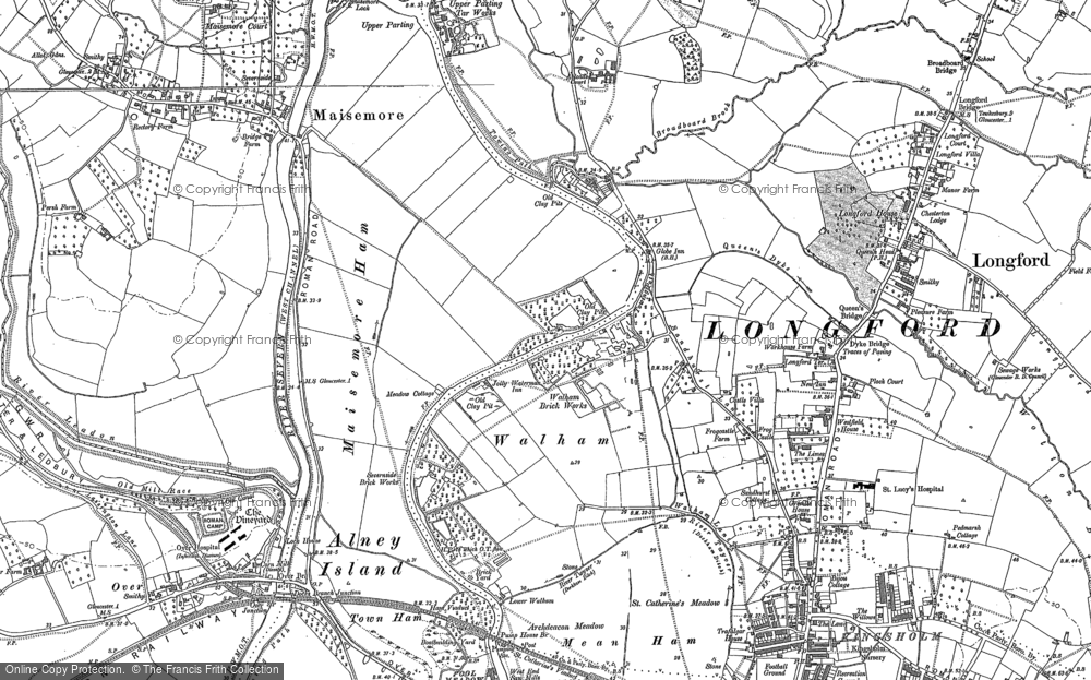 Old Map of Historic Map covering Alney Island in 1883