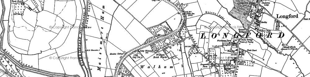 Old map of Alney Island in 1883