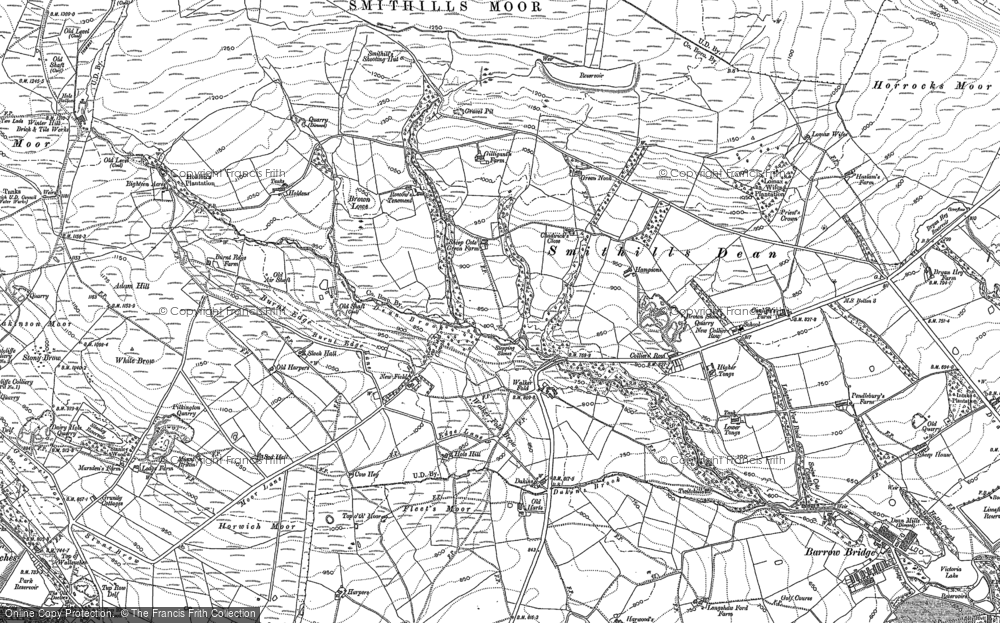 Old Map of Historic Map covering Adam Hill in 1892