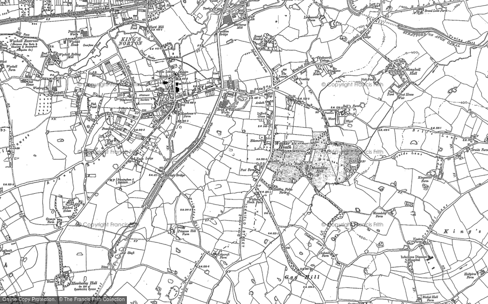 Old Map of Historic Map covering King's Norton in 1882