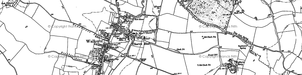 Old map of Walkern in 1896