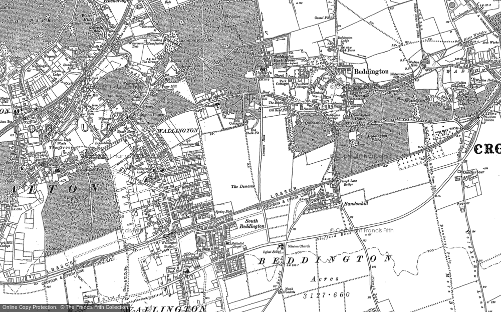 Old Map of Historic Map covering Bandonhill in 1895