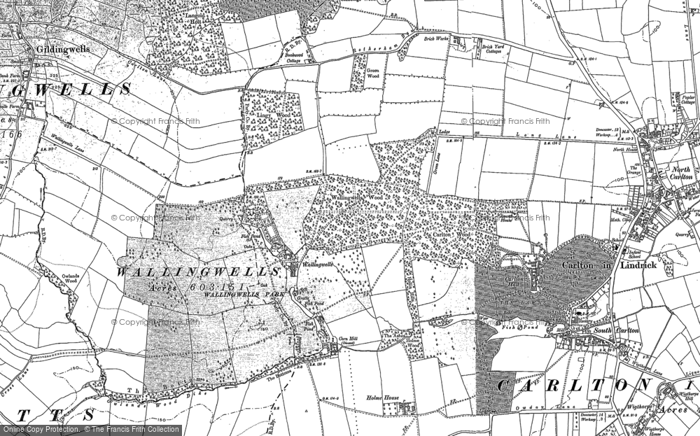 Old Map of Historic Map covering Carlton in Lindrick in 1901