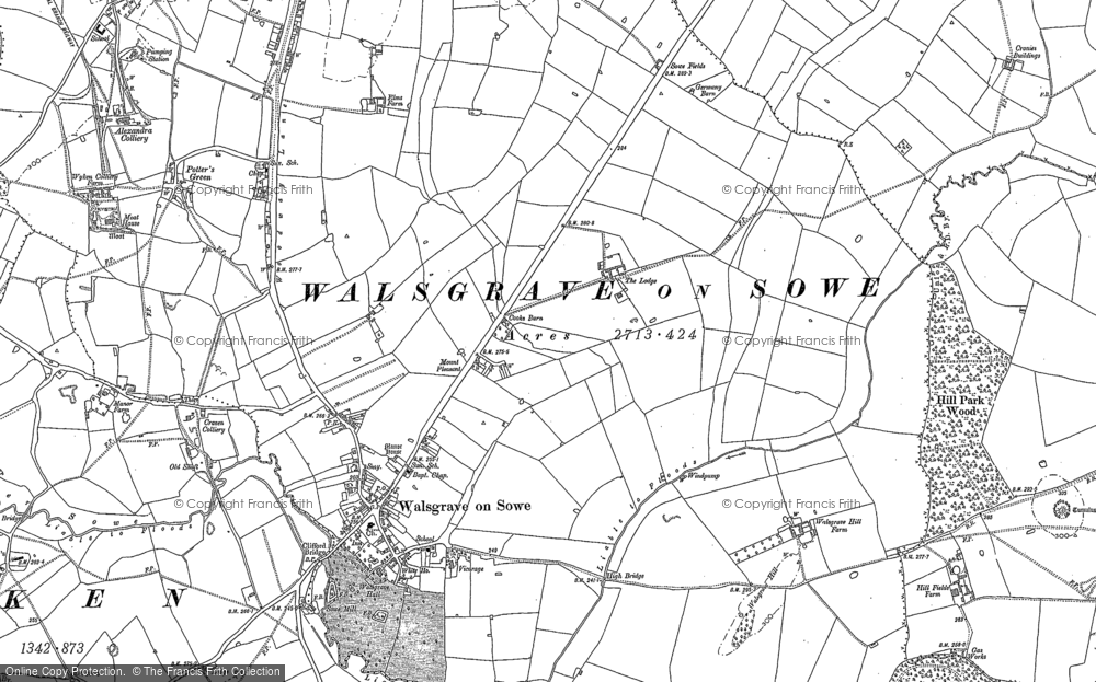 Old Map of Historic Map covering Wyken in 1886