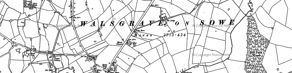 Old map of Wyken in 1886