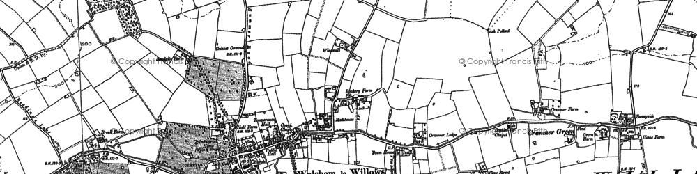 Old map of Walsham Le Willows in 1883