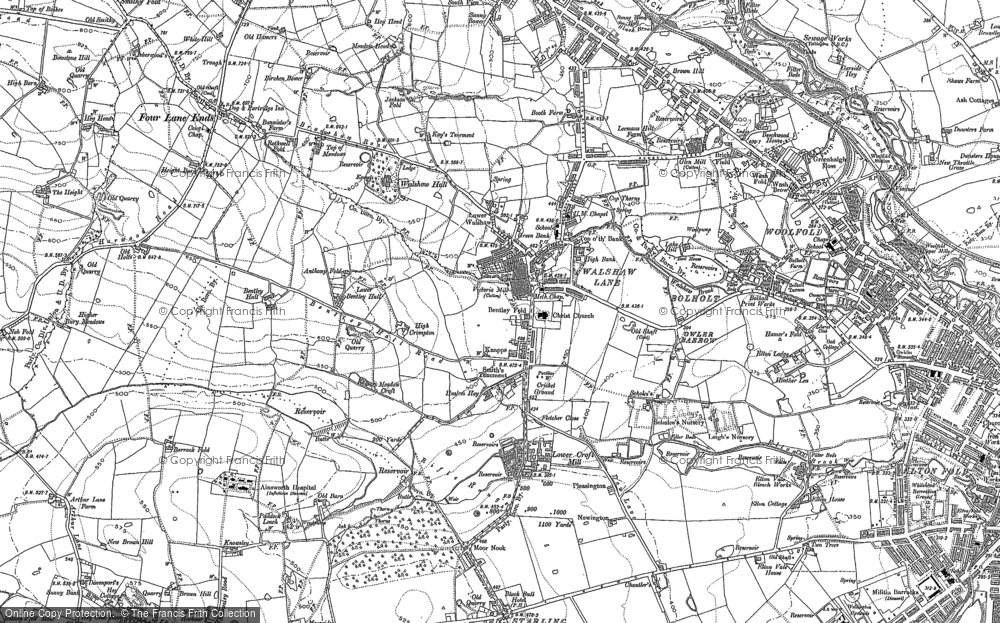 Old Map of Historic Map covering Woolfold in 1890