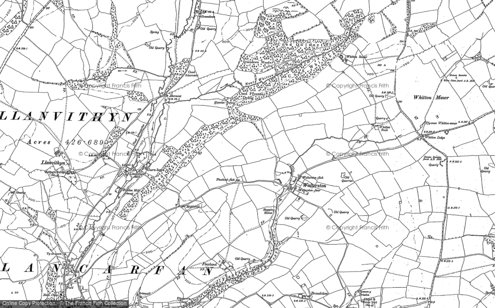 Old Map of Historic Map covering Whitewell in 1898