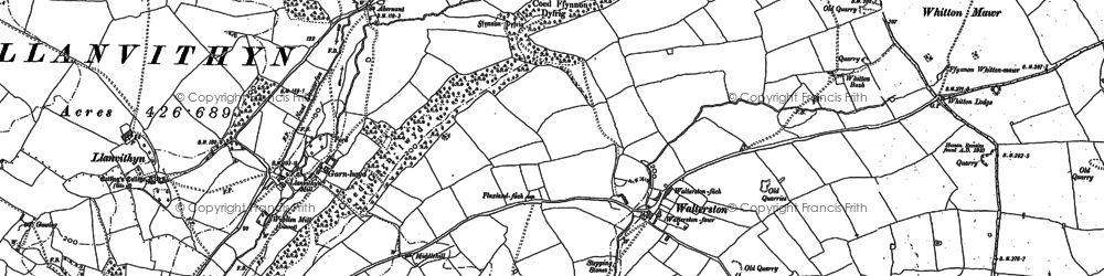 Old map of Whitewell in 1898