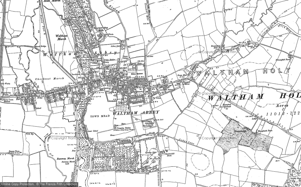 Old Map of Historic Map covering Aimes Green in 1895