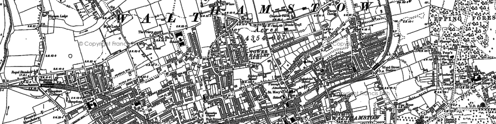 Old map of Whipps Cross Hospl in 1894