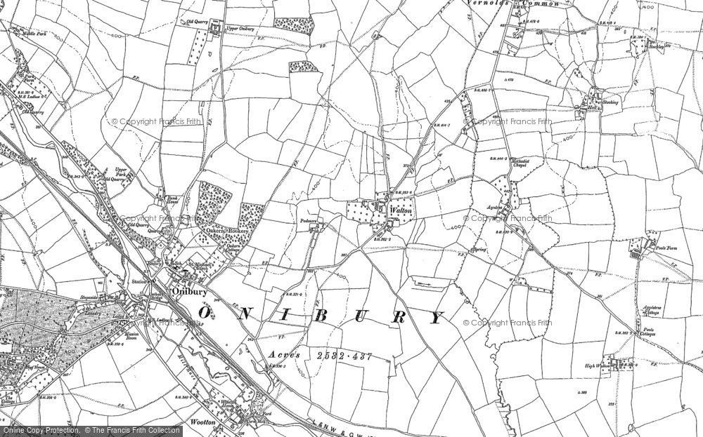 Old Map of Historic Map covering Ayntree in 1883