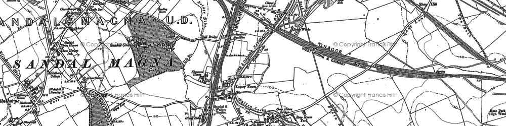 Old map of Woolgreaves in 1890