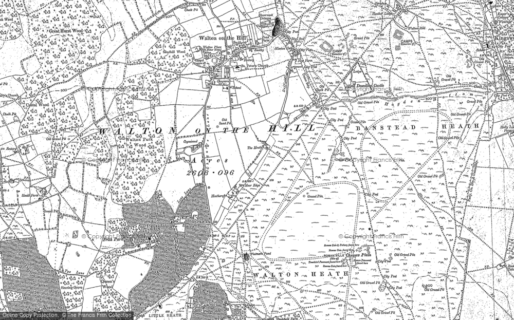 Old Map of Historic Map covering Banstead Heath in 1895