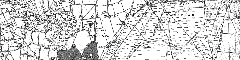 Old map of Banstead Heath in 1895
