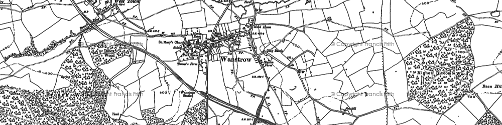 Old map of Weston Town in 1884