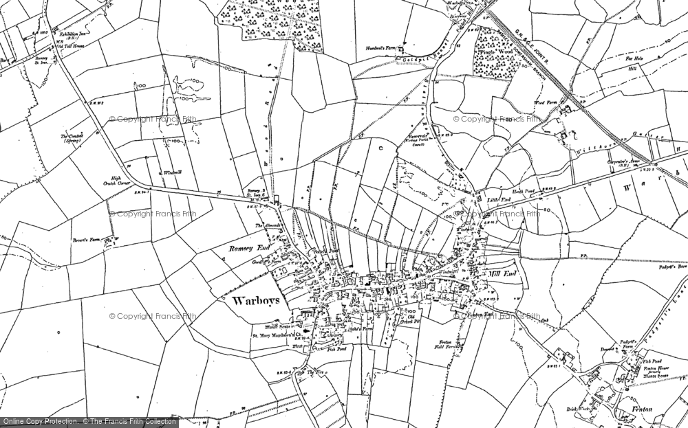 Old Map of Warboys, 1887 - 1900 in 1887