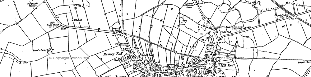 Old map of Warboys in 1887