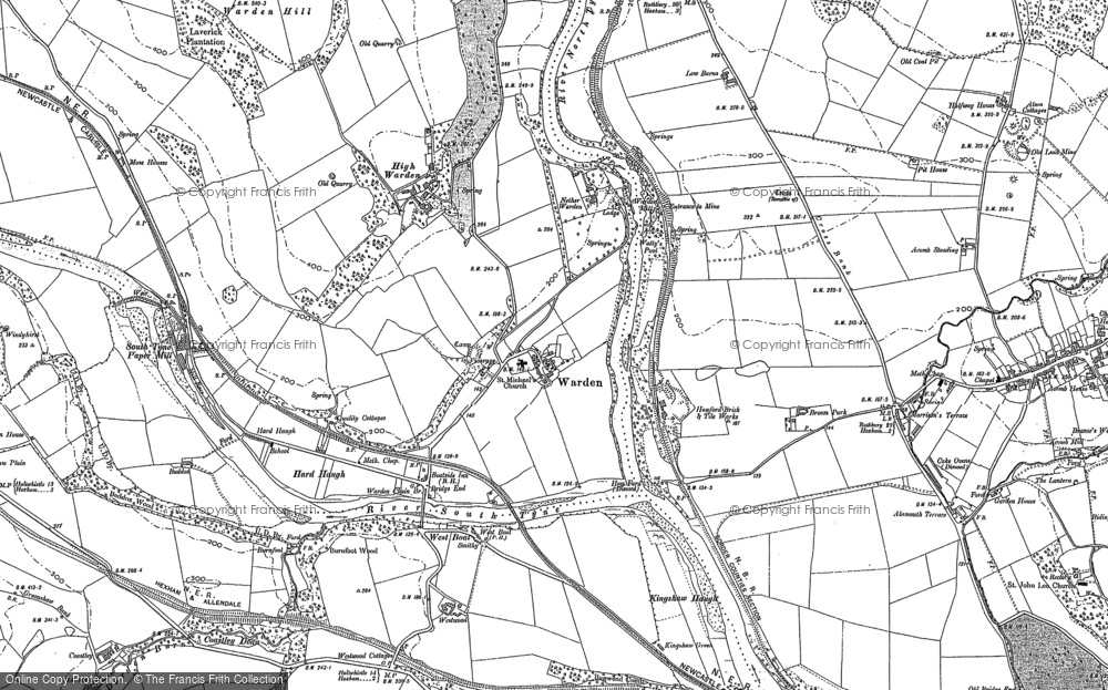 Old Map of Historic Map covering Leazes in 1895