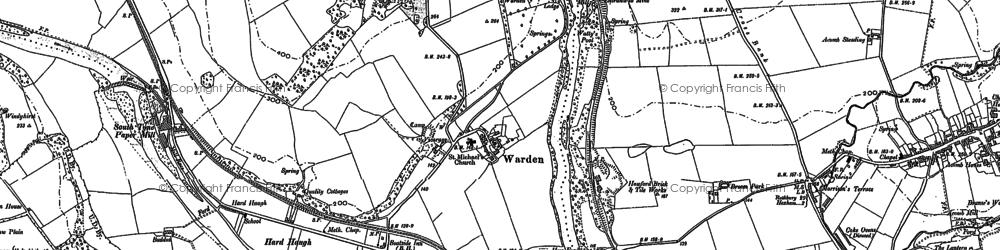 Old map of Leazes in 1895