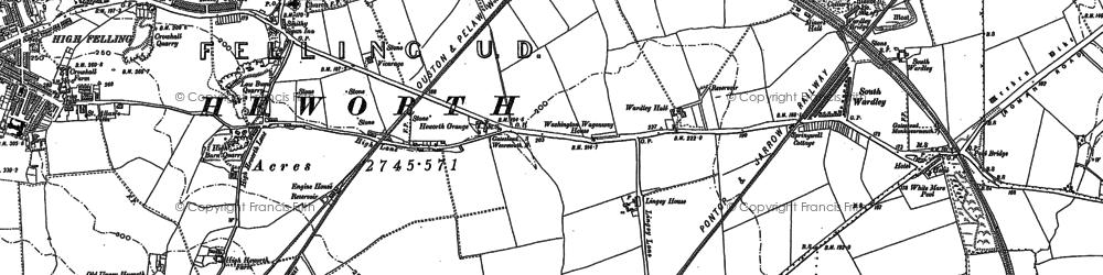 Old map of Wrakendike (Roman Road) in 1895