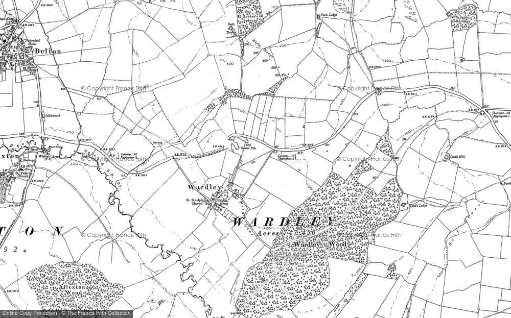 Old Map of Historic Map covering Allexton Wood in 1902
